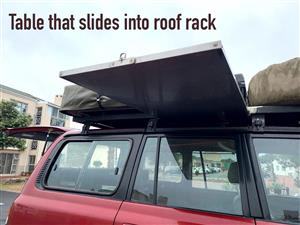 Land Cruiser 80 roof rack for sale with hi-lift jack and 2x jerrycan holders and a table