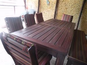 Excellent conditon, Meranti 5 chairs plus bench patio set