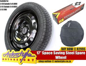 17 inch Space saver spare wheel, rim and tyre, avoid high cost expensive run flat tyres and let us quote you on standard tyres and use this as a spare wheel, a cheaper option. fitment open 7 days to balance and fit.  - includes carry bag  - includes scissor vehicle jack