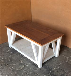 Coffee table Cottage series 1000 with x sides - Two tone weathered