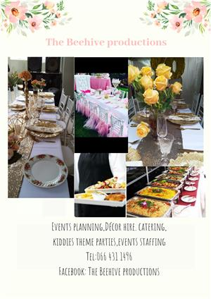 Décor hire, catering,kiddies parties,