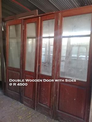 Used Double Wooden Door with Sides