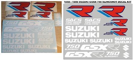 1988 Suzuki GSXR 750 Slingshot decals stickers / vinyl cut graphics set