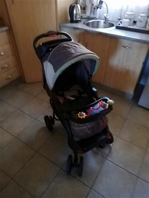 Pram and car seat and stroller