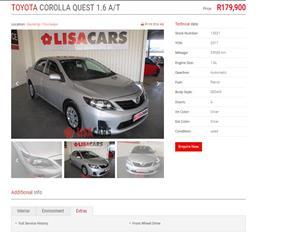 2017 Toyota Corolla Quest COROLLA QUEST 1.6 A/T