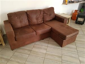Brown L-Shaped Couch for sale