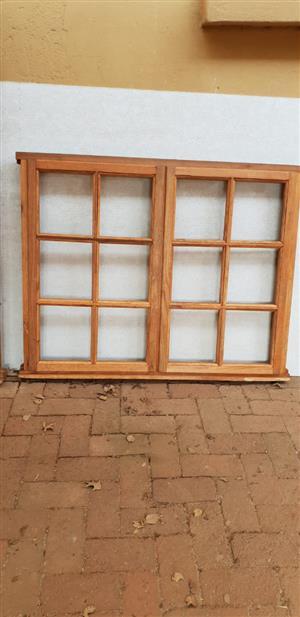 Wooden cottage pane windows with burglar bars for sale
