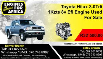 Toyota Hilux 3.0Tdi 1Kzte 8v Efi Engine Used For Sale.