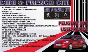 USED CAR PARTS AND ACCESSORIES FOR PEUGEOT  208 , 307