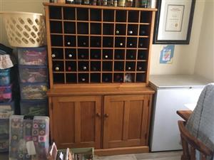 Antique solid oak wine cupboard