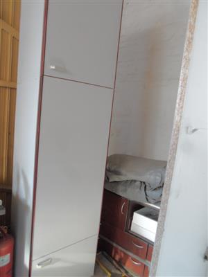 Kitchen White Melamine Grocery Cupboard With Solid Mahogany Edges