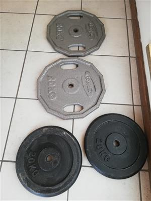 gym bench and 20kg x 4 Trojan weight palets