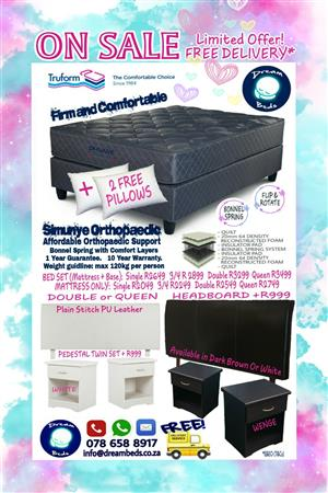 FREE DELIVERY Truform Orthopaedic Double or QUEEN Bed MATTRESS ONLY with 2 Pillows FREE