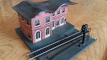 Brick model train station