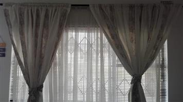 White floral curtains