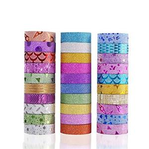 BEST SELLER: 30 METRE GLITTER ROLL/WASHI TAPE – 10 PACK