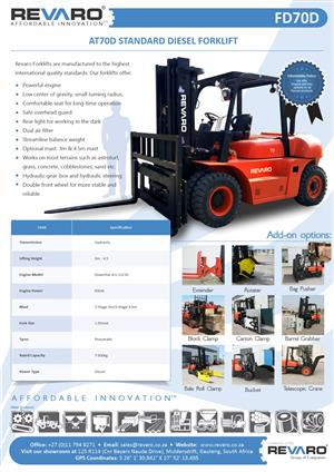 Forklift New Revaro 7 tons Also 2, 2.5, 3, 3.5 and 5 tons