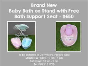 Brand New Baby Bath on Stand with Free Bath Support Seat - Pink