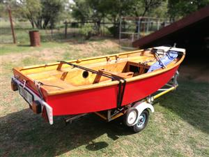 For Sale: MIrror Sailing Dinghy, with full spinnaker set up and boat dolly (Excluding Boat Trailer)