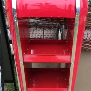 Retro look red and white display stand