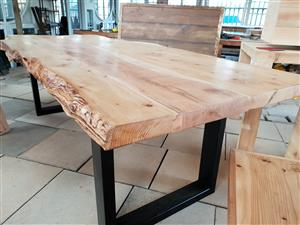 6 seater live edge tables