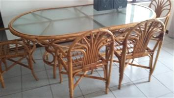 Cane dining room set with glass table and 6 chairs for sale  Pinetown