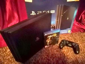 Playstation 4 pro 1tb with 1 game Fallout 1 remote all cables included