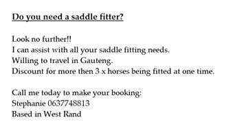 Certified saddle fitter available in Gauteng