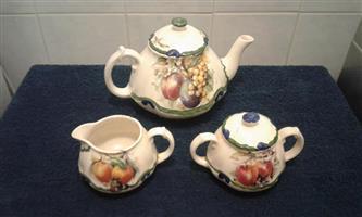 Teapot, sugar bowl and milk jug