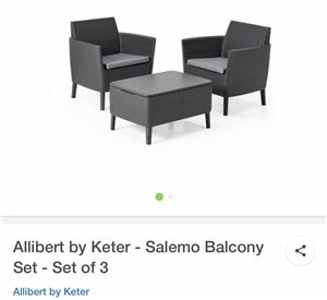 Brand new (still in box) 3 piece Patio Furniture - 2 chairs and 1 coffee table with storage