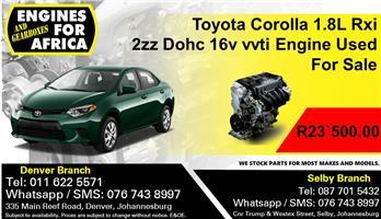 Toyota Corolla 1.8L Rxi 2zz Dohc 16v vvti Engine Used For Sale.