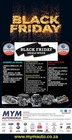 MYM AUTOWORLD IMPORTERS OF USED ENGINES AND GEARBOXES BLACK FIRDAY SALE COMING SOON!!!