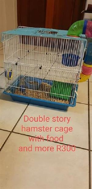 Double storey hamster cage