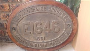 SAR Railway Locomotive Number Plate