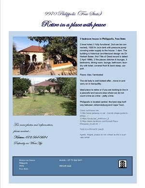 Philippolis 9970 _ 3 Bedroom house for Sale