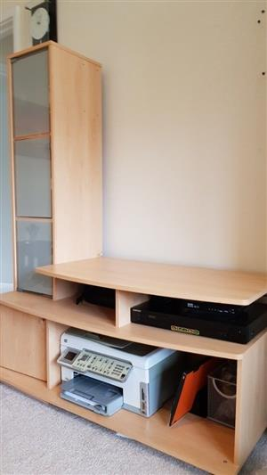TV stand surface home office cabinet display glass door storage for equipment, files, books