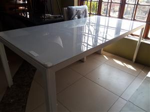 6 Seater White Patio Table