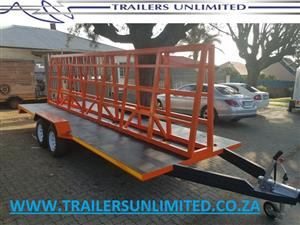 TRAILERS UNLIMITED ALUMINIUM AND GLASS TRAILER. FLATBED TRAILERS. GLASS CARRIER.