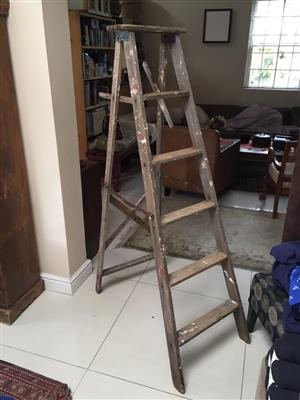 Vintage 6 Step Decor Wooden Ladder