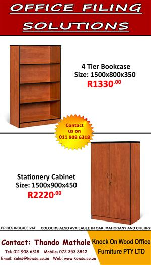 Office Filing Solutions! Stock available in Cherry, Oak and Mahogany.