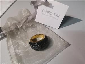 Gold-plated black Swarovski dome ring
