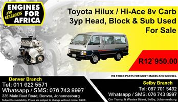 Toyota Hilux / Hi-Ace 8v Carb 3yp Head, Block & Sub Used For Sale.