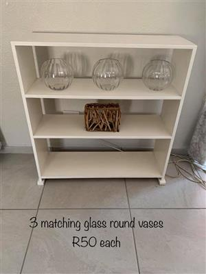 3 Glass round vases for sale