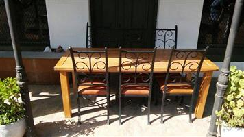 Chestnut Dining room 8 seater Table and 6 Chairs