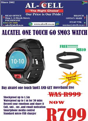 Alcatel One Touch Go Smart Watch SM03 And Get Alcatel MB10 Move Band Free!!