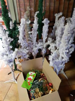 Green and white xmas trees and decor for sale