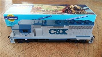 Blue and white CSX model train