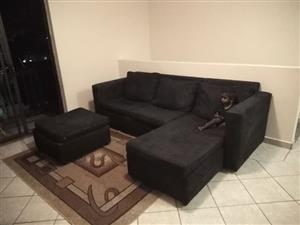 3 Seater Black Suede couches