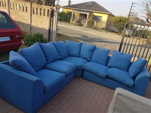 5 Seater blue corner couch