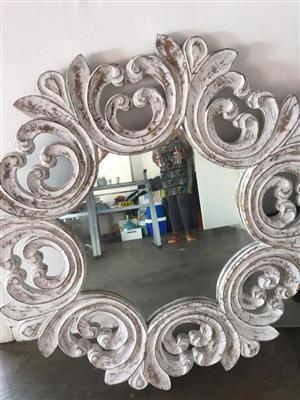 White circular framed mirror for sale
